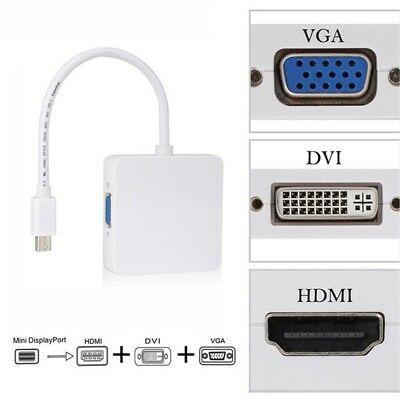 3 in 1 Mini DisplayPort to HDMI/DVI/VGA Display Port Cable For MacBook PC