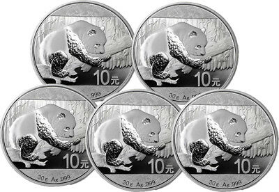 Lot of 5 coins 2016 Chinese Silver Panda 30 Gram Coin - Brilliant Uncirculated