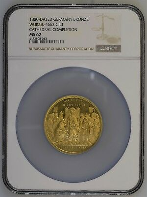Germany 1880 Gold Gilt Cologne Cathedral Medal Wurzb.-4662 NGC MS62 - Prooflike