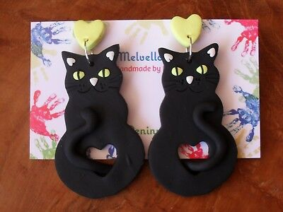 Black Cat dangle earrings Melvellous polymer clay