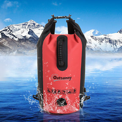 Outsunny Dry Bag Waterproof Sack Adjustable Shoulder Strap 20L PVC Kayaking Red