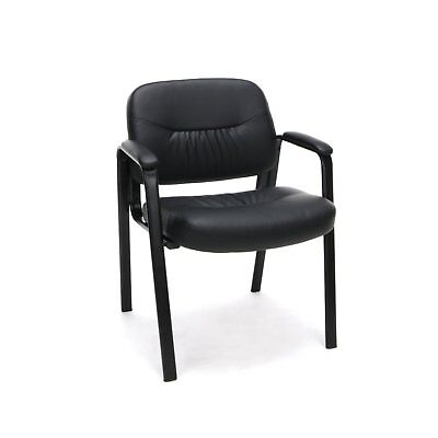 Essentials Leather Executive Side Chair - Guest/Reception Chair, Black