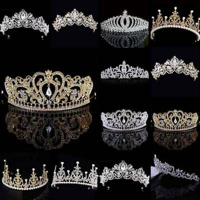 Princess Bridal Wedding Prom Headband Crystal Rhinestone Pearl Tiara Crown