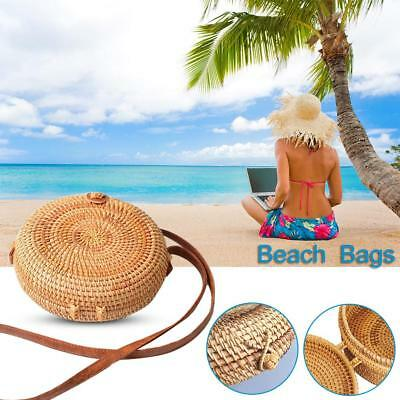 Handmade Beach Bag Round Handwoven Rattan Circle Women Bamboo Straw Satchel