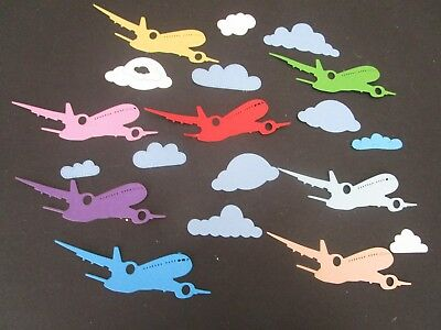 Die Cuts Aeroplanes 8  & Clouds  Many Colours Cardstock