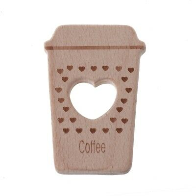 Baby Teethers Lovely Cute Coffee Pendant Necklace Accessory Beech Wood Chew Toys