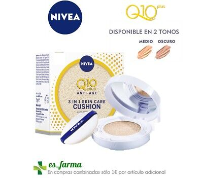Nivea Q10 Plus Anti-Age Care Cushion 3 En 1 15G Antiedad Maquillaje Crema Color