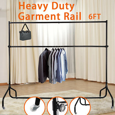 New 6ft Heavy Duty Double Hanging Clothes Garment Rail Display Dress Hanger Rack