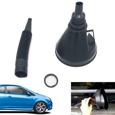 Black Plastic Car Flexible Funnel Spout Mesh Screen Strainer Oil Petrol GasA