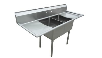 """Stainless Steel 2 Compartment Sink 96"""" x 30"""" with 2 24"""" Drainboards"""