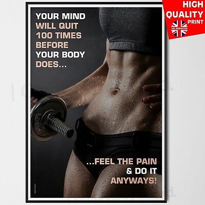 Gym Motivation Poster Print Workout Fitness Inspirational Quotes A4 A3 A2