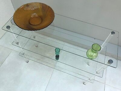 Vintage Mid Century Modernist Lucite Perspex and Glass Shelving Display Unit