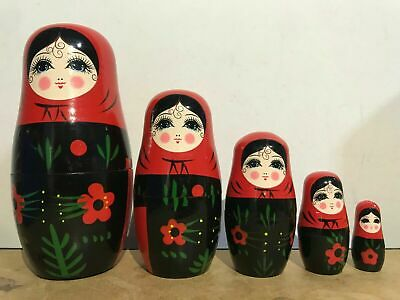 New 5Pcs/set Matryoshka Russian Nesting Dolls Babushka Wooden Gift Black Pink