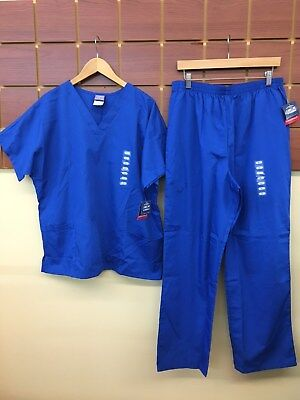 NEW Cherokee Royal Blue Solid Scrubs Set With Large Top & Large Pants NWT