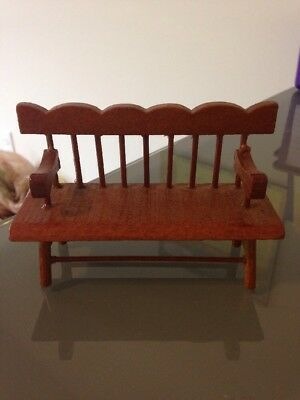 Doll House Miniature Scalloped Top Wood Bench Patio indoor/outdoor