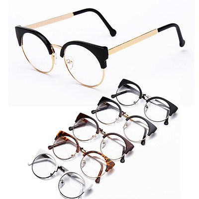 b64b0a530a Indie Hipster Cat eye Half Eyeglass frames Vintage Retro Glasses Clear  lenses