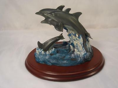 Wyland Signed 4 Dolphins In Waves & Wood Base Inspired By Travelers Encore Group