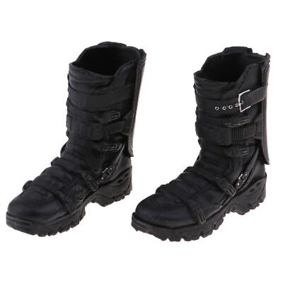 1/6 Scale Male High Ankle Boots Shoes Black for 12'' Action Kumik Body Doll