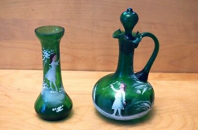 Vintage Mary Gregory Green Glass Bud Vase and Cruet with Stopper