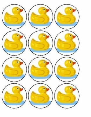 12 Duck Cupcake Decoration Edible Rice Paper Cake Toppers Pre Cut 40mm
