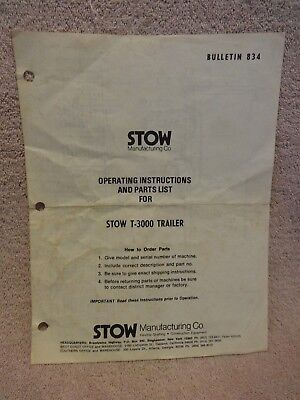 Stow T-3000 Roller Trailer Operating And Parts List Manual