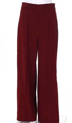 fe69a284 Zara Woman Red High Rise Creased Wide Leg Trousers Small NEW NWT Career  Style