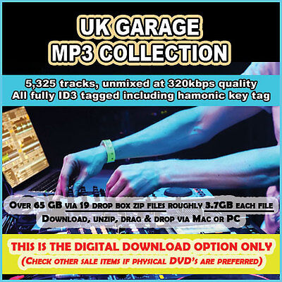 Amazing UK Garage MP3 Collection 5,325 tracks tagged unmixed - DIGITAL DOWNLOAD