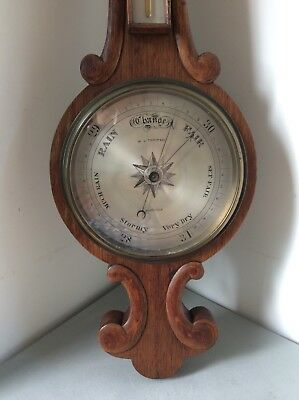 Antique Victorian W.J. Thompson Ashford Kent Oak Aneroid Barometer Arts & Crafts