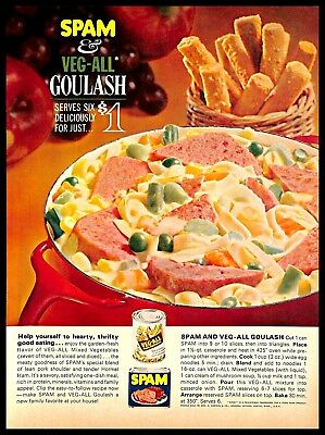 1964 Spam Veg-All Goulash Vintage PRINT AD Ham Vegetables Cooking Recipe 1960s