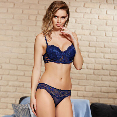 Damen Sexy Dessou Set Push-up BH und String-Tanga 4727