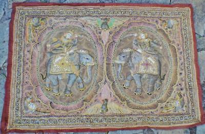 Fine Antique Burmese Kalaga Wall Tapestry Bead Glass Sequins Elephant Embroidery