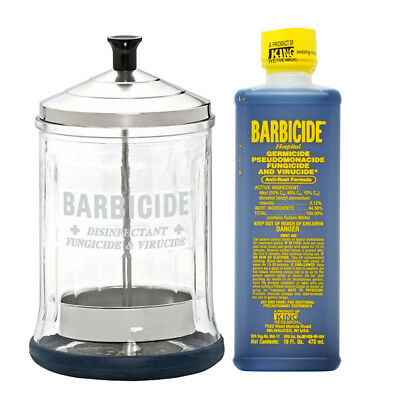 King Research Barbicide Disinfecting Jar Mid 21oz & Disinfectant 16oz w/NailFile