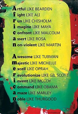 Famous African Americans - Mini Print -Word Poster - African American Art Poster