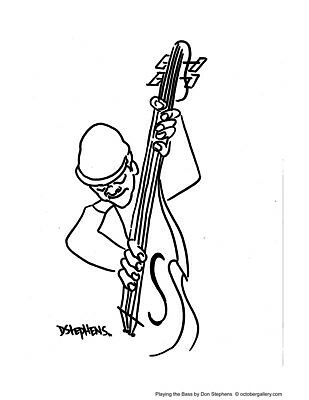 Playing The Bass Mini Print by Don Stephens -  African American Art - New