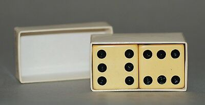 Vintage Pair Of Large Bakelite Dice In Ivory W/ Black Dots In Original Paper Box