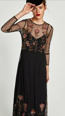 ZARA Sold Out Embroidered Flowing Floral Long Sleeve Midi Dress XS BNWT Free P&P