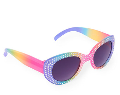 Toddler Girls Faceted Multi-Color Rainbow Plastic Sunglasses 2 Sizes Fashion