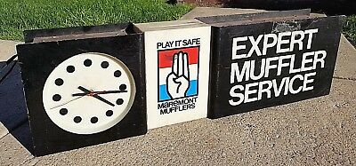 Vintage Maremont Mufflers Play It Safe Expert Service Double Sided Clock Sign