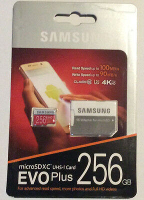 Samsung EVO Plus 256GB MicroSDXC UHS-I Card 4K Ultra HD With SD Adapter