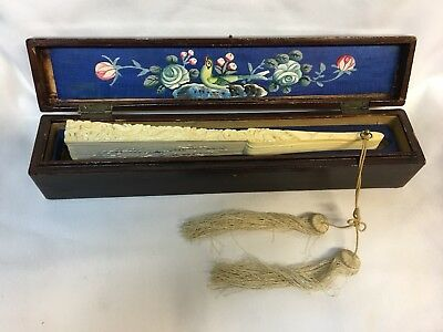 Antique 19Th Century Canton Silk Embroidered, Carved bone Fan/Dragons/In Box