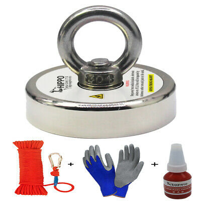 500 LBS  NEODYMIUM ROUND HIPPO FISHING MAGNET KIT with ROPE & CARABINER HOOK