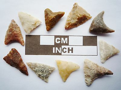 Neolithic Arrowheads, 10 x Triangle Artifacts - 4000BC - (R022)