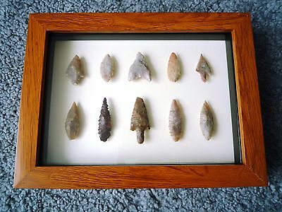 Neolithic Arrowheads in 3D Picture Frame, Authentic Artifacts 4000BC (1061)