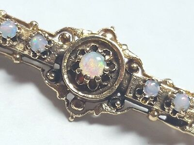 Vintage c.1880 Victorian 14k Yellow Gold Opal Pin Brooch