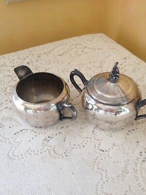 Antique Silver Plate Sugar and Creamer with lid F.B. Rogers Silver Co. 1883