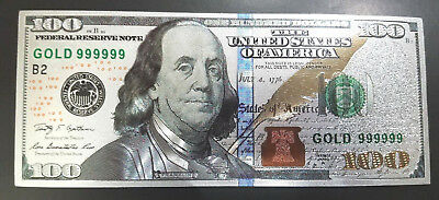 Silver  Plated $100 Dollar Bill with Green Seal TWO SIDED Printed