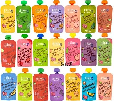 Ella's Kitchen Organic Baby Food 120g - From 4 Month+ Fruit & Veg Smooth Purees