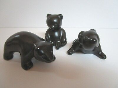 Lot of 3 Pigeon River Art Pottery Bears Signed T Bullen 2003 TB