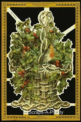 Die Cut Scrap Mamelok English -  Christmas Holly / Flowers (Archives Coll.) A177