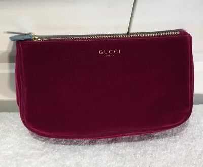 3d96e463ad38 GUCCI BEAUTY BURGUNDY Red Pouch Makeup Bag Velvet Cosmetic Bag New ...